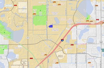 Highlighted in blue, the three warehouse parcels acquired by MDH lie just west of an I-4 interchange, and north of the Mall at Millenia area.