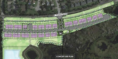 The roughly 20-acre, gated community will feature a community clubhouse with a pool.