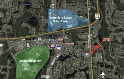 An aerial map that distinguishes where the development site in Orlando's Waterford Lakes is located.