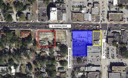 "Highlighted in blue is the retail strip property in downtown Orlando's ""Little Saigon"" neighborhood acquired last week by the same owners of the Anh Hong Restaurant (yellow). One block west (red) is property separately planned for a new multi-tenant retail center."