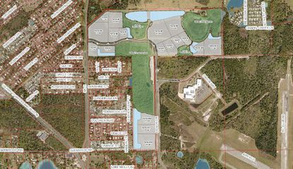 The site for the proposed DeLand Airport Industrial Park is located northeast of where Glenwood Road (C.R. 4088) and State Road 11 intersect.