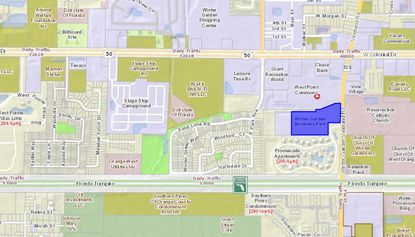Highlighted in blue, the Winter Garden Business Park lies southwest of the intersection of W. Colonial Drive and Winter Garden Vineland Road.