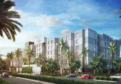 Rendering of the recently opened dual-brand Marriott hotels on Millenia Boulevard, behind the Mall at Millenia.