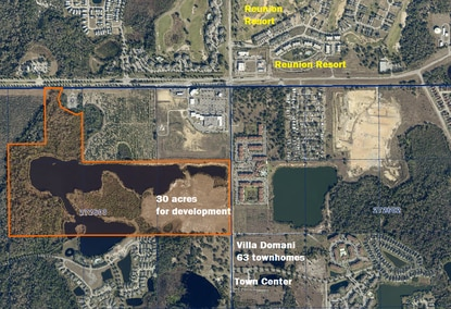 Polk County real estate agent Lucia Camara is looking for development partners on 30 acres in the Four Corners area, just south of Reunion Resort.