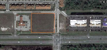 The 1.89-acre parcel in Sanford, rimmed in orange, and along S.R. 46 and Terracina Drive, is being eyed for a quick service restaurant, a retail auto parts store and an ice cream shop.