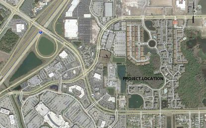Outlined in black is the site of a proposed new Free-Standing Emergency Room (FSER) in the 4000 block of Millenia Boulevard, north of the Mall at Millenia.
