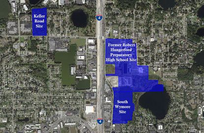 Highlighted in blue are the parcels that are part of the 100-acre plus property OCPS and the town of Eatonvlle are working together to try to sell off for redevelopment.