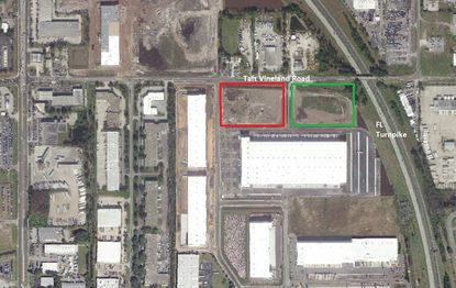 Outlined are the sites for new warehouse Buildings 700 (red) and 800 (green) planned by McCraney in its Bent Oak Industrial Park, located at the intersection of Taft Vineland Road and the Florida Turnpike.