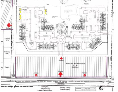 In this conceptual plan, the 355-unit apartment complex would be east of the commercial development on Boggy Creek Road. The area that abuts a single family home would have 2-story, carriage house units (highlighted).