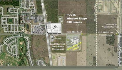 The mixed-use project would be adjacent to Pulte's Windsor Ridge vacation home resort and across from a new apartment complex.