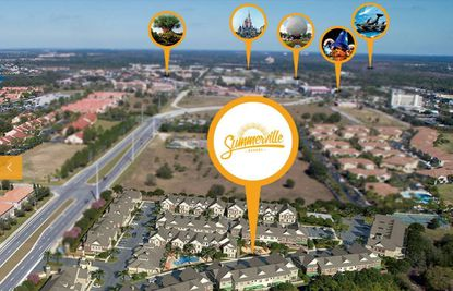 A digital rendering of the 99-unit Phase 1 of Summerville Resorton Old Lake Wilson Road, just off U.S. 192 in Kissimmee. In the distance markers show Disney parks and SeaWorld.
