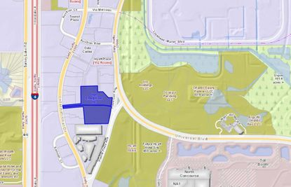 Highlighted in blue are the two parcels owned by JHM Hotels that are being considered for hotel development, north of Pointe Orlando on International Drive.