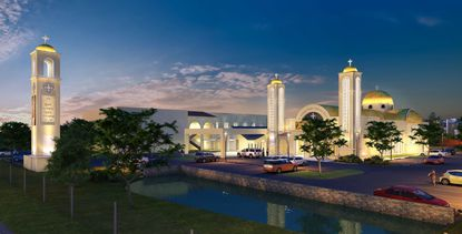 This rendering shows a nighttime view of the expansion planned for St. Anthony Coptic Orthodox Church in Maitland.