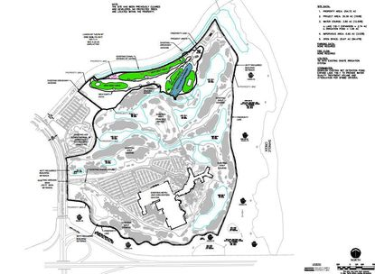 A site map showing the redevelopment of the vacant 24.6-acre parcel fronting Destination Parkway, which will accommodate three golf course greens and a new water body.