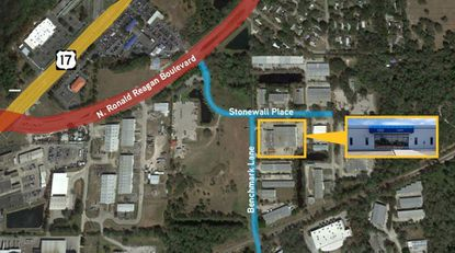 Outlined in yellow is the industrial building acquired by InterAmerica Stage, located on Benchmark Lane in Sanford.