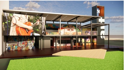 The two-story container structure would have its own cafe with covered seating, a small stage and a large angled video screen that will be visible from Orange Avenue.