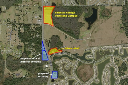 Highlighted in blue are two site proposed for rezoning near the Bellalago community and just south of the new Valencia College Poinciana Campus. The first is proposed for a medical office building, while the other would be for commercial use.