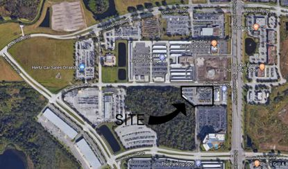 Outlined in black is the site of a proposed six-story Towneplace Suites by Marriott on Butler National Drive, just off S. Semoran Boulevard and north of Orlando International Airport.