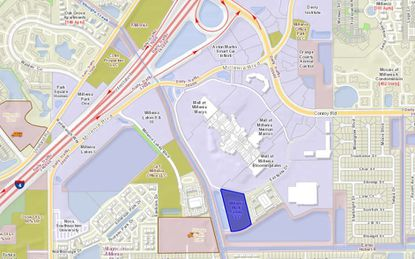 Highlighted in blue is the 6.81-acre parcel southeast of the Mall at Millenia where up to 403 apartments could be built for a second phase of the Millenia 700 apartments.