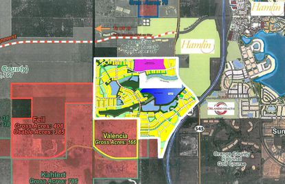 An aerial perspective of where Sun Terra's Horizon West property lies in proximity to other developments and major roadways.