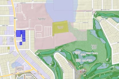 Highlighted in blue are the eight semi-contiguous parcels totaling 1.856 acres now owned by the Diocese of Orlando along Edgewater Drive, directly south of Bishop Moore Catholic High School.