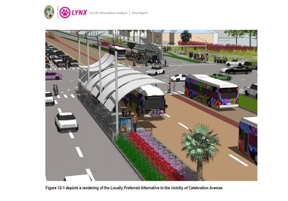 This rendering depicts a future Bus Rapid Transit (BRT) system on W192 at Celebration Avenue. The system has dedicated transit lanes and bus shelters.