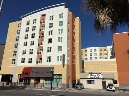 The Residence Inn by Marriott hotel, located at the corner of N. Orange Avenue and W. Colonial Drive.