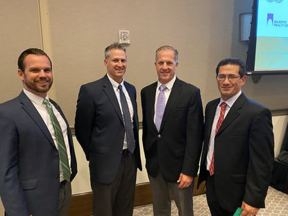 McCraney Property Company was named Developer of the Year for 2019 by NAIOP Central Florida. Pictured are Rob Richter, Sean Carpenter, Bill Van Dresser and James Marvel.