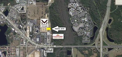 The hotel site highlighted in yellow is tucked between the Magic Village 2 Resort and Hawthorne Suites. It's just west of Disney's All-Star Resort.