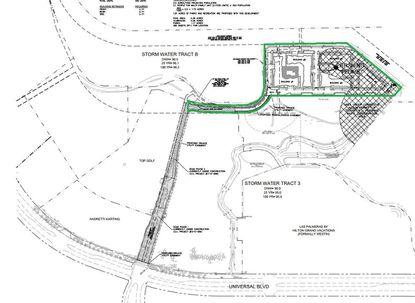 Outlined in green is the 11.5 acres of Orlando Equity Partners land off Universal Boulevard targeted for new apartments by Flournoy Partners. It lies north of the Las Palmeras hotel by Hilton Grand Vacations, and northeast of the Topgolf and Andretti Karting attractions.