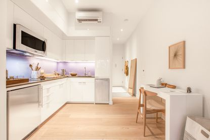 A kitchen area in a one-bedroom Ollie apartment now in New York City.