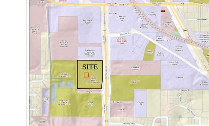 Outlined in black is the 8.88-acre parcel for which Advanced Disposal Services is looking to build a new vehicle maintenance facility.