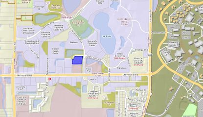 Highlighted in blue is the 110-key Hampton Inn & Suites on Quadrangle Boulevard, just west of the main entrance to UCF.