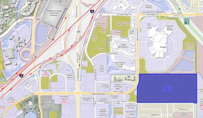 Highlighted in blue, the 77-acre parcel owned by I Drive Investors LLC off of North International Drive.