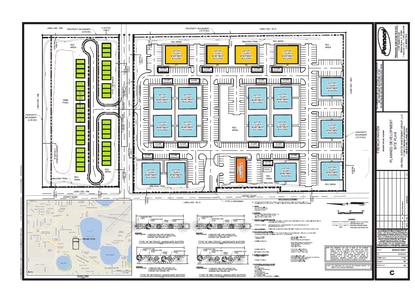 A developer wants to build moderately priced workforce housing on the former Polk Nurseries site in Winter Haven. The project would include townhomes (green), apartments and commercial (orange) uses. The apartments closest to single family homes would be two stories and are shown in yellow.