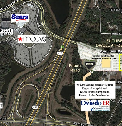Just north of the under-construction Oviedo Medical Center sit two planned developments that will supply medical offices and also hotels and apartments.