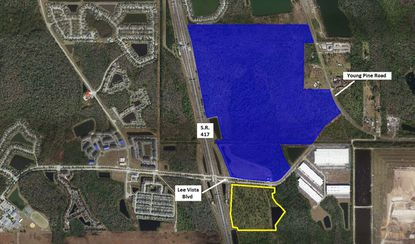 Highlighted in blue is the 282-acre main parcel of the Beltway Commerce Center PD, of which about 253 gross acres are under contract to Pulte Homes for 440 home lots. Outlined in yellow is the site of two previously approved new warehouses.