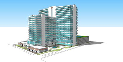 The latest artist's rendering of Parkview Resort, a 25-story, semi-luxury timeshare hotel property planned for the site of the Monumental Movieland Hotel on North International Drive.