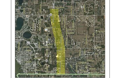 Highlighted in yellow is the 4.5-mile stretch being considered for extension and widening of Round Lake Road, from Chautauqua Street to the Lake/Orange County line.