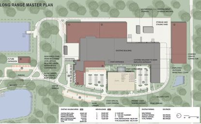 Highlighted in brown are the new buildings and structures planned for Correct Craft's full build-out plan. Highlighted in gray are the existing buildings.