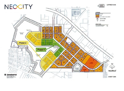 The developer would pay $14.125 million for the 25 acres designated as Neocity's town center (green) and would have exclusive rights to negotiate to buy an additional 45 acres shown in yellow.