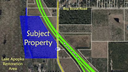 The subject property spans about 43 acres and sits adjacent to the Lake Apopka Restoration Area, about a mile away from AdventHealth Apopka.