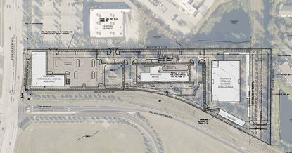 This master site plan for 8.6 acres at the corner of Rinehart Road and S.R. 417 shows prospective lots for a self-storage facility, hotel and retail building fronting the main road. The site lies directly south of a Best Buy.