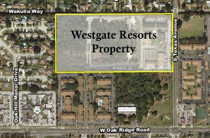 Outlined in yellow is the nearly 20 acres of land Westgate Resorts is looking to entitle. The property includes its The Seasons development.