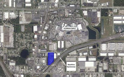 Highlighted in blue is the warehouse property on La Quinta Drive acquired this week by Cabot Properties, which lies south of the Florida Mall and near the Beachline Expressway.