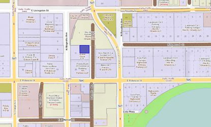 Highlighted in blue is the 0.15-acre parcel on Palmetto Avenue in downtown Orlando, an undeveloped parcel located behind the Skyhouse Orlando apartment tower on N. Magnolia Avenue.
