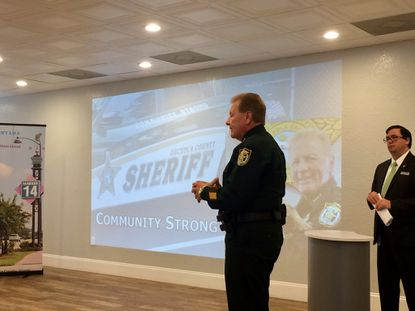Osceola Sheriff Russ Gibson made his pitch Thursday for a district office in the W192 tourism corridor to shift 150 personnel to the county's west side.