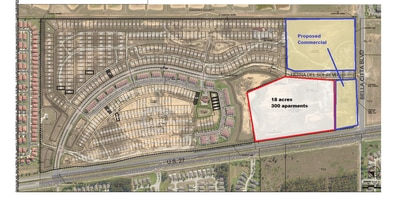 A Tampa homebuilder wants to resume construction at Waterstone by building 464 new vacation homes. The parcels outline in blue would be developed for commercial uses. The 18-acre parcel outlined in red would have 300 apartments.