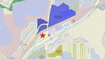Nona Village at the northwest corner of Narcoossee Road and S.R. 417 would be entitled for 50,000 square feet of commercial/retail and up to 250 hotel rooms. Immediately north are three large tracts (blue) acquired in the last two years by Adventist Health System.