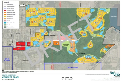 The St. Cloud City Council voted 3-2 this month to deny an annexation request for Center Lake Ranch, a 2,000-acre mixed-use community east of Narcoossee Road. The vote could kill the project, which has an approved DRI and entitlements for more than 3,000 homes.